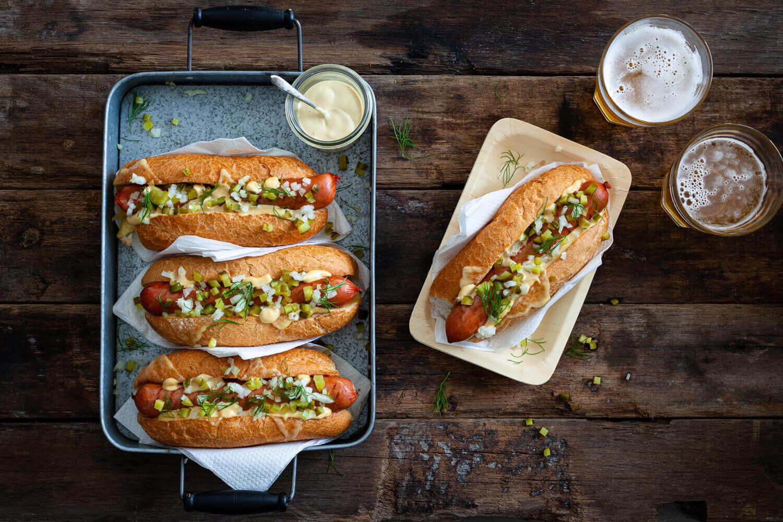 Smoked bratwurst sub, mustard mayo, pickles and onions