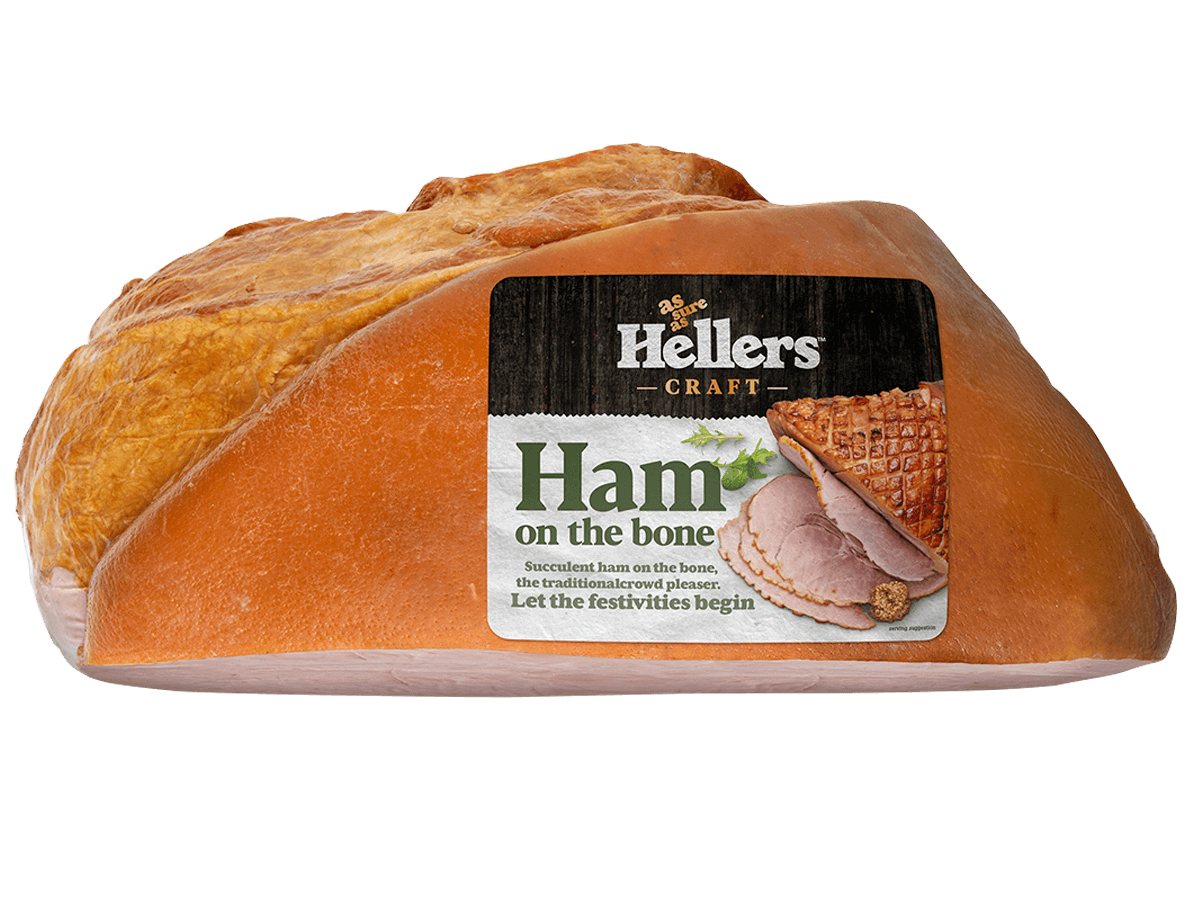 Hellers cooked ham on the bone in packaging