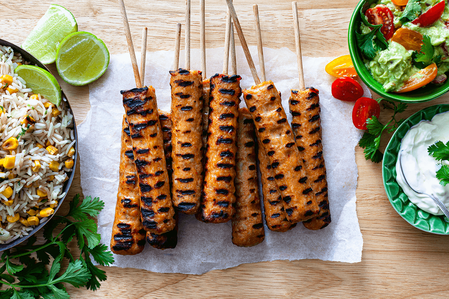 Mexican Kebabs with Rice & Guacamole