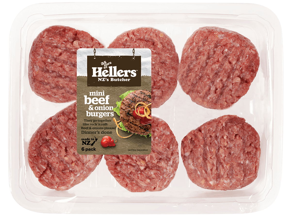 Hellers Mini Beef and onion Burgers