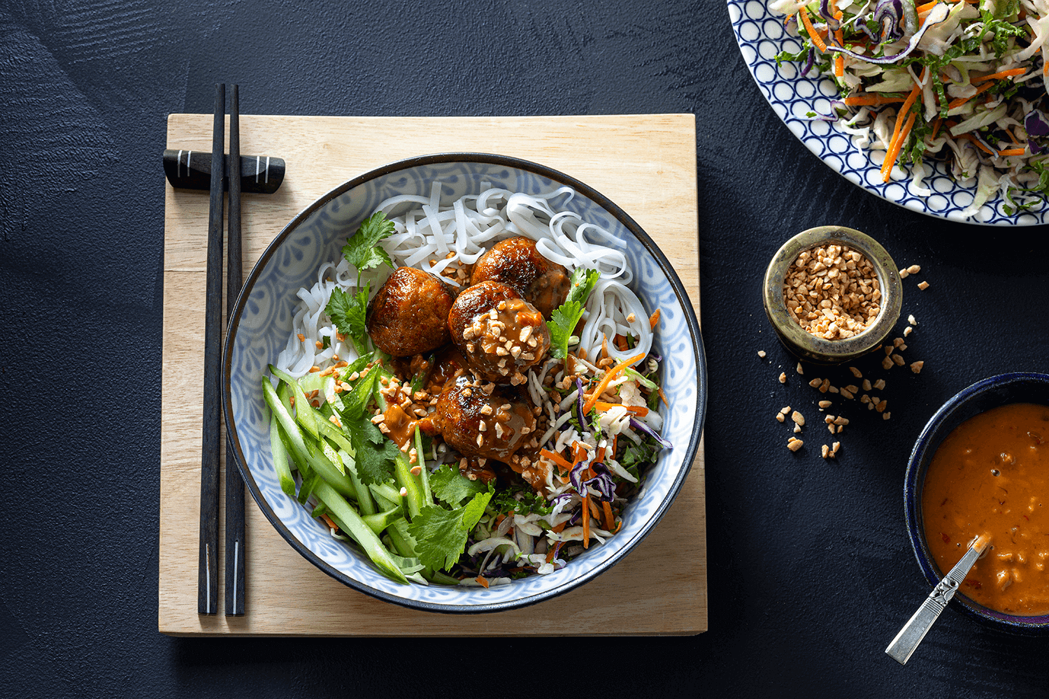 Hellers Great Balls of Fire Meatballs with Quick Rice Noodle Salad & Chopped Peanuts