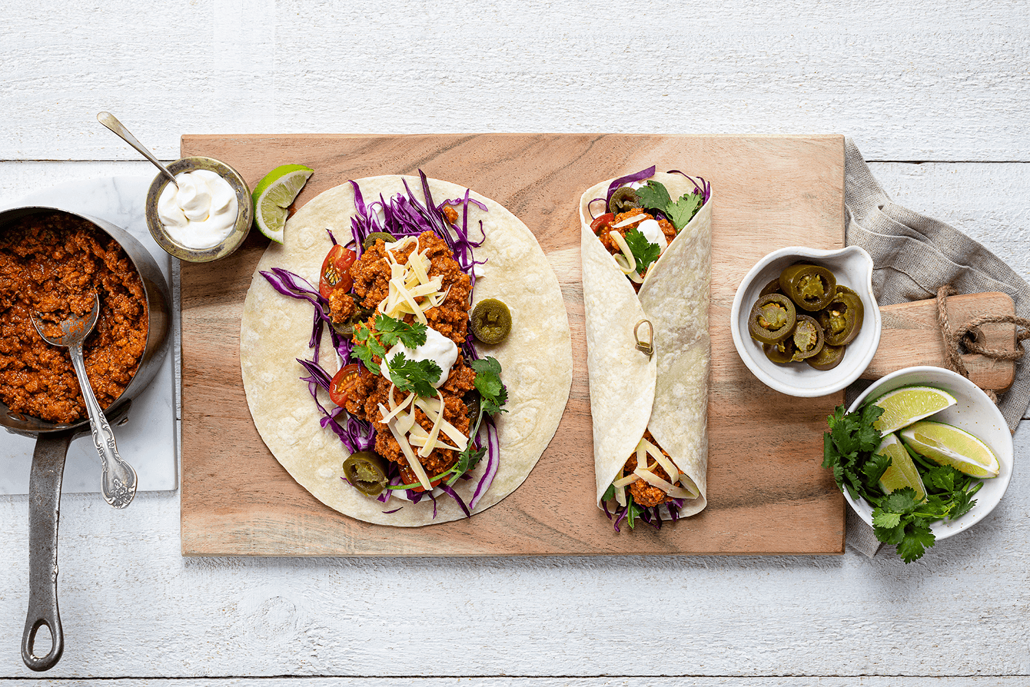 Easy Mexican Mince Wraps with Slaw, Sour Cream & Coriander