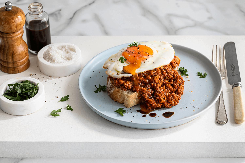 Italian Mince on Toast with an Egg