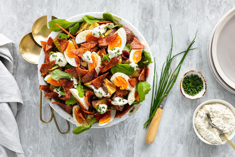 Kumara, Chorizo Strips, Egg Salad with Mustard & Chive Creme Fraiche